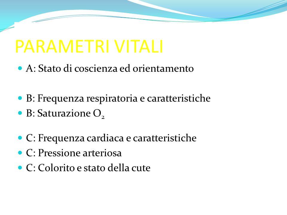 PARAMETRI VITALI A: Stato di coscienza ed orientamento B: Frequenza respiratoria e caratteristiche B: Saturazione O 2 C: Frequenza cardiaca e caratter