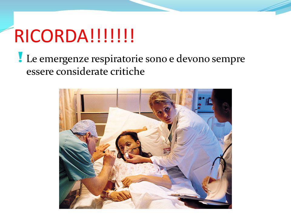 RICORDA!!!!!!! ! Le emergenze respiratorie sono e devono sempre essere considerate critiche