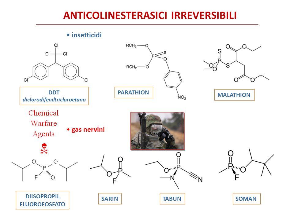 ANTICOLINESTERASICI IRREVERSIBILI Sono tutti composti molto lipofili che possono facilmente attraversare la cute e le mucose per contatto.