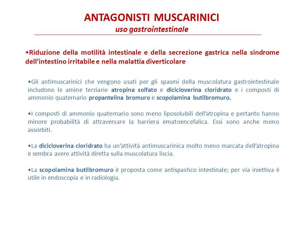 I farmaci antimuscarinici sono utilizzati nella pre-anestesia per contrastare l'aumento delle secrezioni bronchiali e salivari causato dall'intubazione, da procedure chirurgiche delle vie aeree superiori e da alcuni anestetici inalatori.