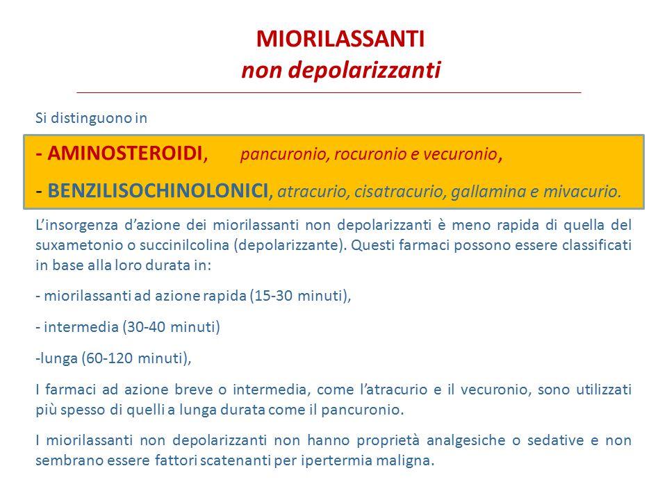 AMINOSTEROIDI pancuronio, rocuronio e vecuronio La maggior parte dei miorilassanti aminosteroidi provoca un rilascio minimo di istamina.