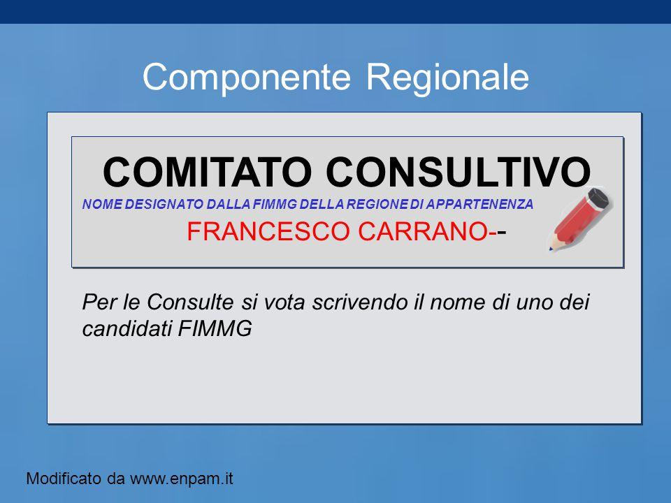 Componente Regionale COMITATO CONSULTIVO NOME DESIGNATO DALLA FIMMG DELLA REGIONE DI APPARTENENZA FRANCESCO CARRANO- - Per le Consulte si vota scrivendo il nome di uno dei candidati FIMMG Modificato da www.enpam.it
