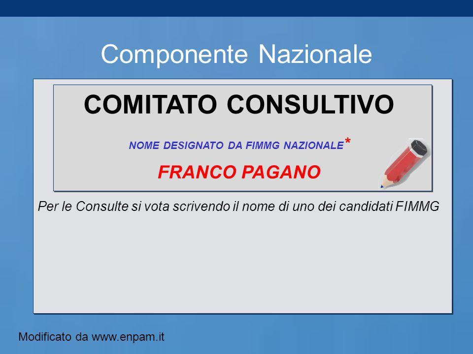 Componente Nazionale COMITATO CONSULTIVO NOME DESIGNATO DA FIMMG NAZIONALE * FRANCO PAGANO Per le Consulte si vota scrivendo il nome di uno dei candidati FIMMG Modificato da www.enpam.it