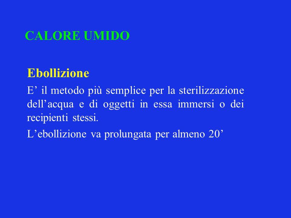 CALORE UMIDO Ebollizione E' il metodo più semplice per la sterilizzazione dell'acqua e di oggetti in essa immersi o dei recipienti stessi. L'ebollizio