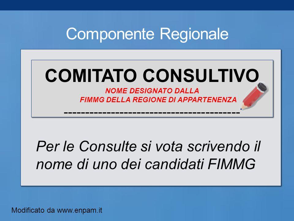 Componente Regionale COMITATO CONSULTIVO NOME DESIGNATO DALLA FIMMG DELLA REGIONE DI APPARTENENZA ----------------------------------------- Per le Consulte si vota scrivendo il nome di uno dei candidati FIMMG Modificato da www.enpam.it