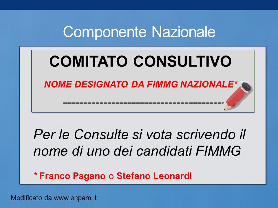Componente Nazionale COMITATO CONSULTIVO NOME DESIGNATO DA FIMMG NAZIONALE* ----------------------------------------- Per le Consulte si vota scrivendo il nome di uno dei candidati FIMMG * Franco Pagano o Stefano Leonardi Modificato da www.enpam.it