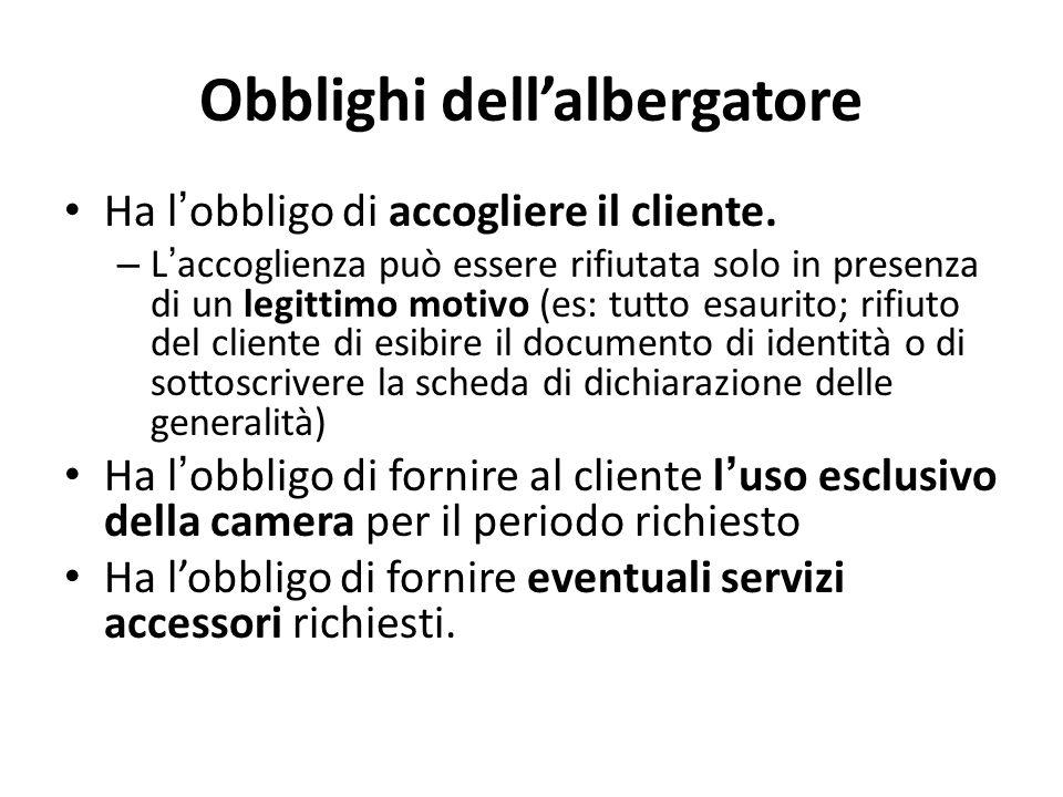 Obblighi dell'albergatore Ha l ' obbligo di accogliere il cliente. – L ' accoglienza può essere rifiutata solo in presenza di un legittimo motivo (es: