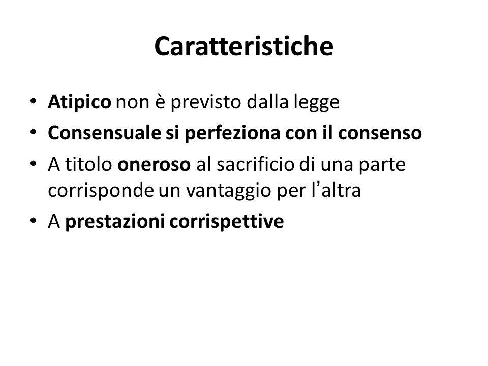 Caratteristiche Atipico non è previsto dalla legge Consensuale si perfeziona con il consenso A titolo oneroso al sacrificio di una parte corrisponde u
