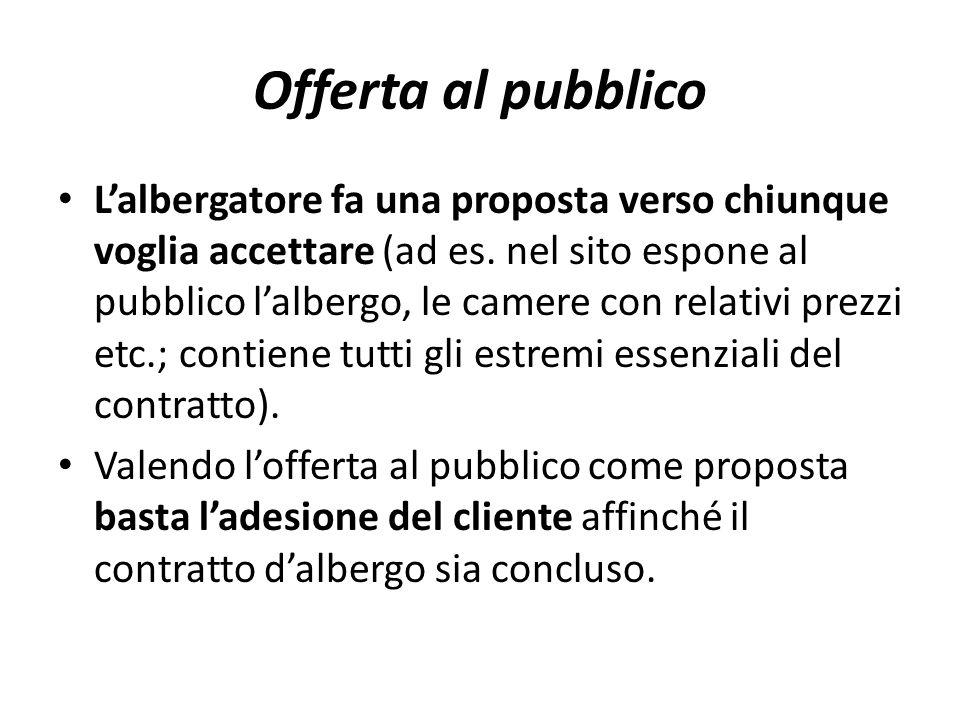 Offerta al pubblico L'albergatore fa una proposta verso chiunque voglia accettare (ad es. nel sito espone al pubblico l'albergo, le camere con relativ