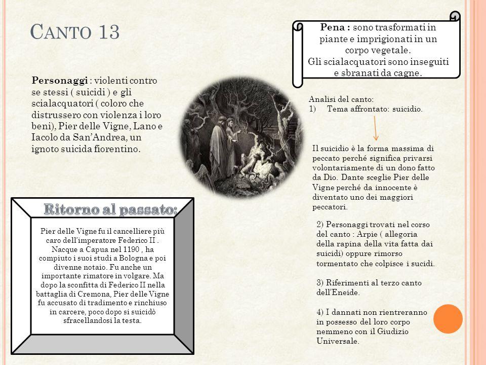 C ANTO 13 Personaggi : violenti contro se stessi ( suicidi ) e gli scialacquatori ( coloro che distrussero con violenza i loro beni), Pier delle Vigne, Lano e Iacolo da San'Andrea, un ignoto suicida fiorentino.