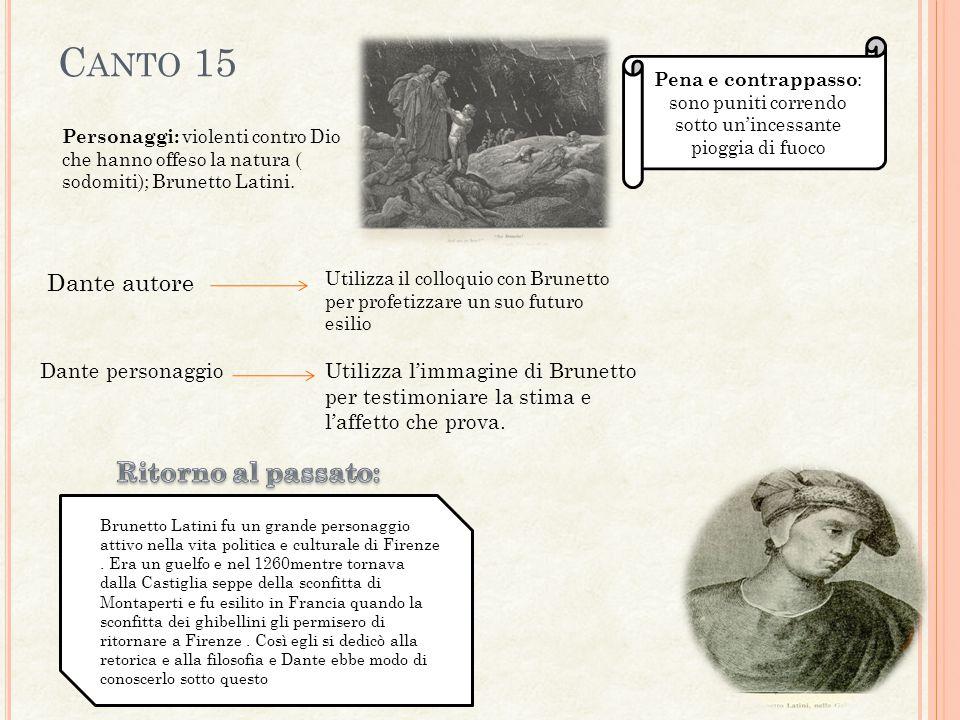 C ANTO 15 Personaggi: violenti contro Dio che hanno offeso la natura ( sodomiti); Brunetto Latini.