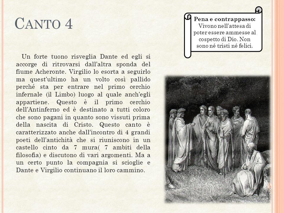 C ANTO 4 Un forte tuono risveglia Dante ed egli si accorge di ritrovarsi dall'altra sponda del fiume Acheronte. Virgilio lo esorta a seguirlo ma quest