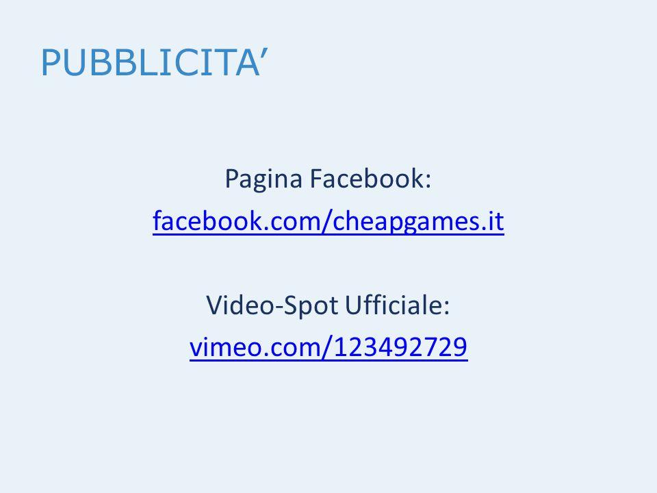 PUBBLICITA' Pagina Facebook: facebook.com/cheapgames.it Video-Spot Ufficiale: vimeo.com/123492729