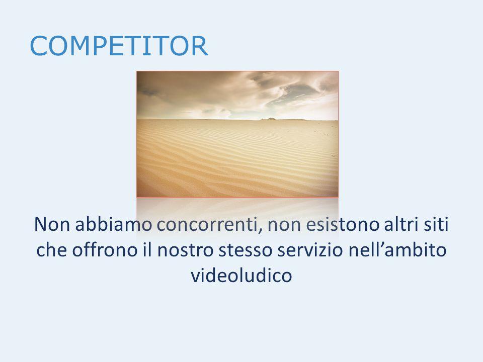 COMPETITOR Non abbiamo concorrenti, non esistono altri siti che offrono il nostro stesso servizio nell'ambito videoludico