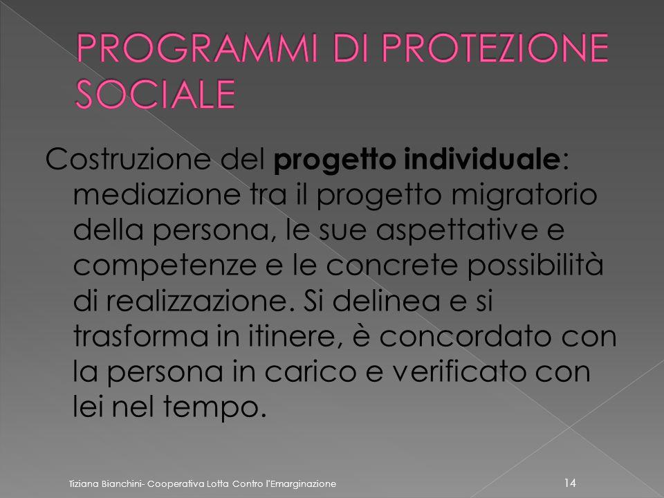 Costruzione del progetto individuale : mediazione tra il progetto migratorio della persona, le sue aspettative e competenze e le concrete possibilità di realizzazione.