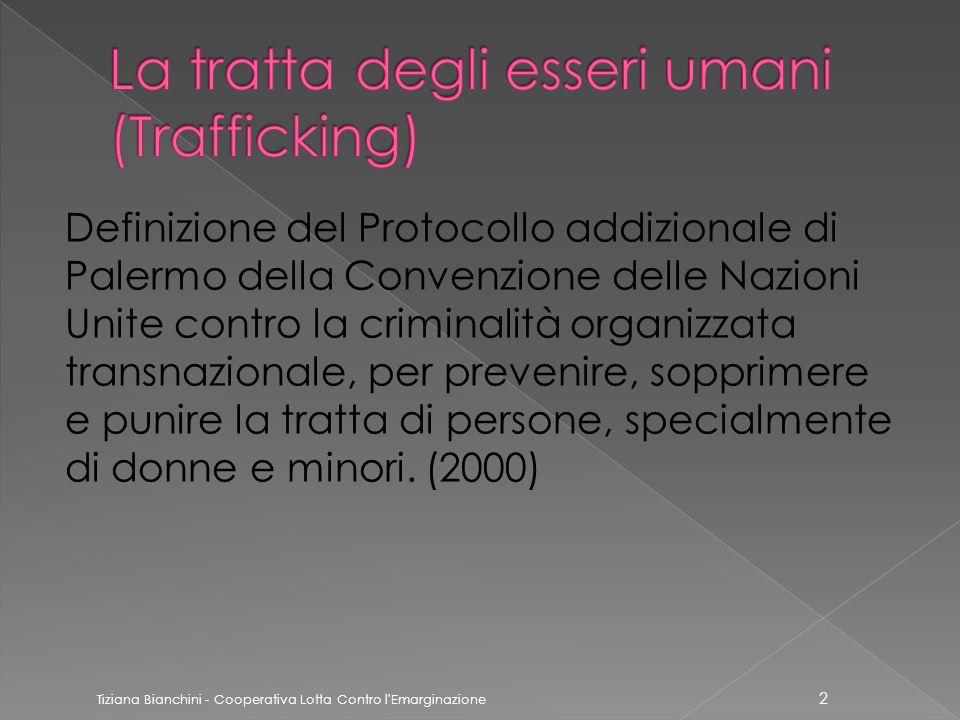 Definizione del Protocollo addizionale di Palermo della Convenzione delle Nazioni Unite contro la criminalità organizzata transnazionale, per prevenire, sopprimere e punire la tratta di persone, specialmente di donne e minori.