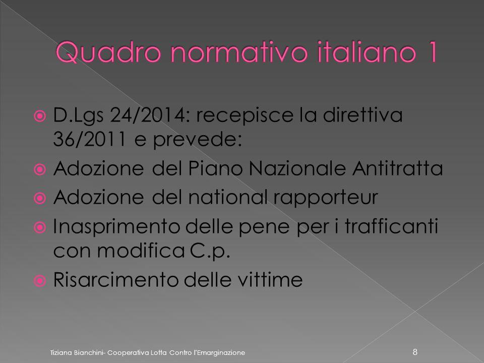  D.Lgs 24/2014: recepisce la direttiva 36/2011 e prevede:  Adozione del Piano Nazionale Antitratta  Adozione del national rapporteur  Inasprimento delle pene per i trafficanti con modifica C.p.