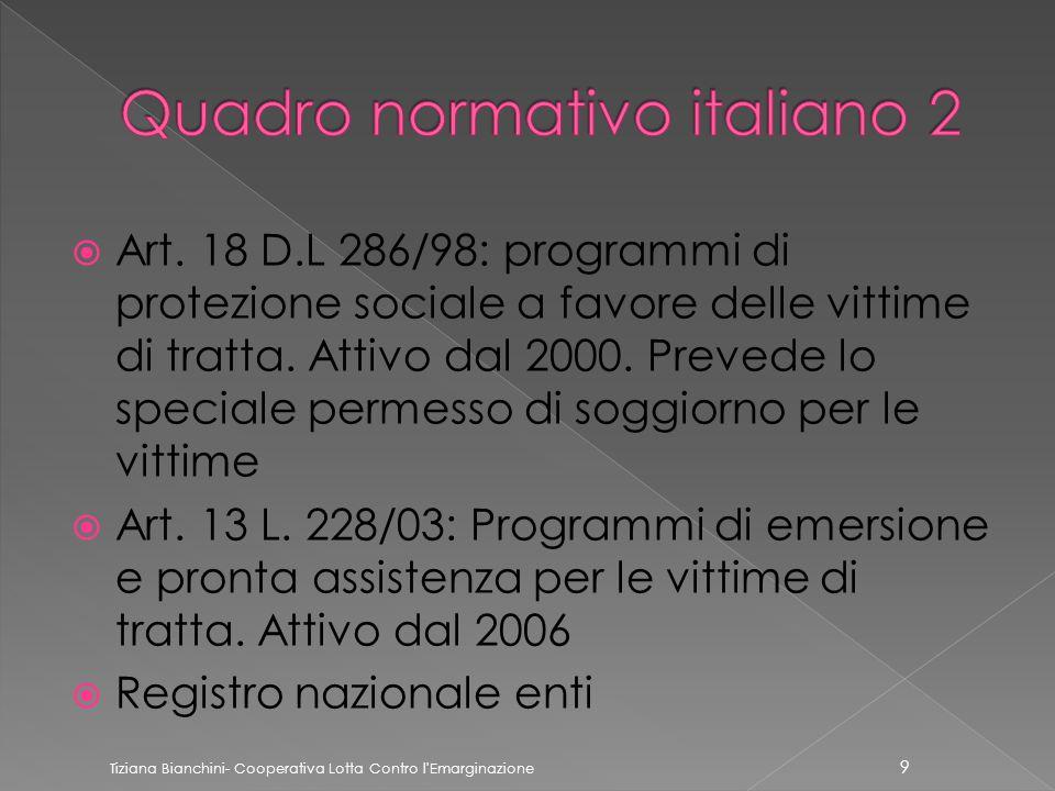  Art. 18 D.L 286/98: programmi di protezione sociale a favore delle vittime di tratta.