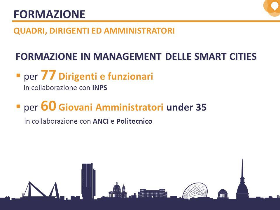 8 FORMAZIONE IN MANAGEMENT DELLE SMART CITIES  per 77 Dirigenti e funzionari in collaborazione con INPS  per 60 Giovani Amministratori under 35 in collaborazione con ANCI e Politecnico FORMAZIONE QUADRI, DIRIGENTI ED AMMINISTRATORI