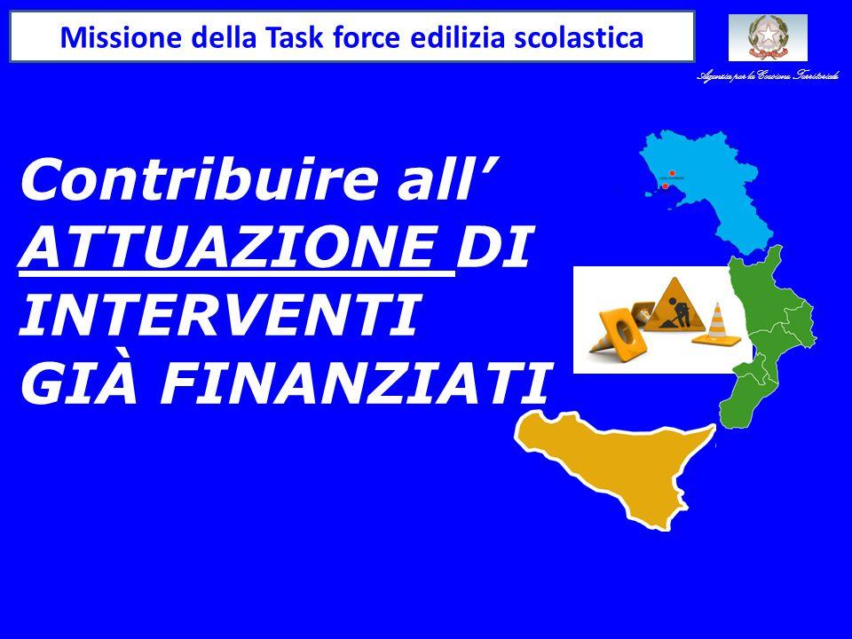 Contribuire all' ATTUAZIONE DI INTERVENTI GIÀ FINANZIATI Missione della Task force edilizia scolastica Agenzia per la Coesione Territoriale