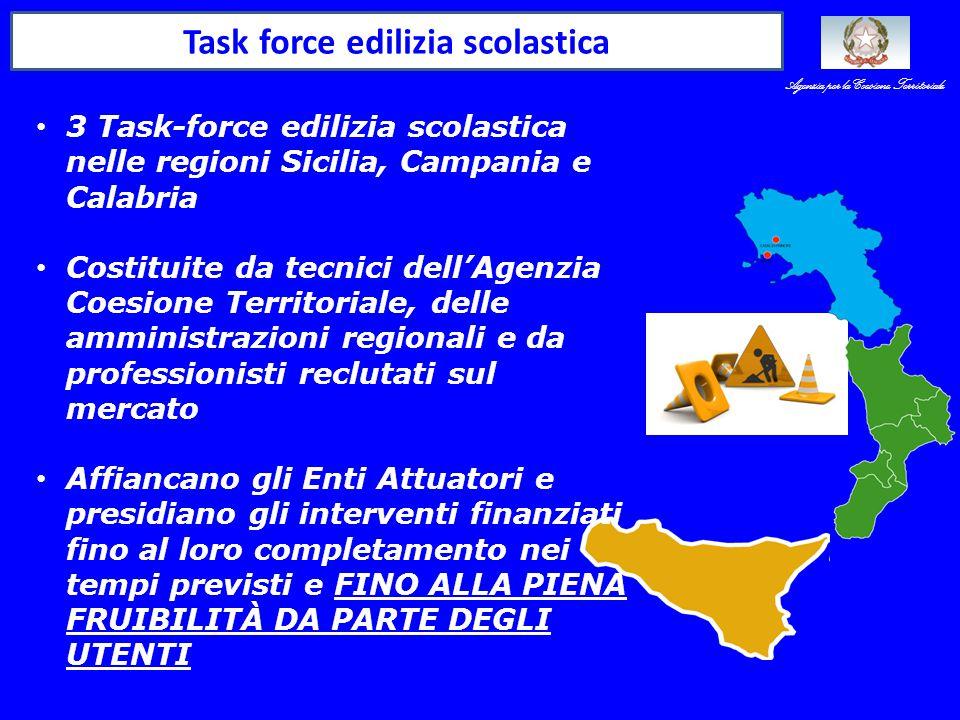 Task force edilizia scolastica 3 Task-force edilizia scolastica nelle regioni Sicilia, Campania e Calabria Costituite da tecnici dell'Agenzia Coesione Territoriale, delle amministrazioni regionali e da professionisti reclutati sul mercato Affiancano gli Enti Attuatori e presidiano gli interventi finanziati fino al loro completamento nei tempi previsti e FINO ALLA PIENA FRUIBILITÀ DA PARTE DEGLI UTENTI Agenzia per la Coesione Territoriale