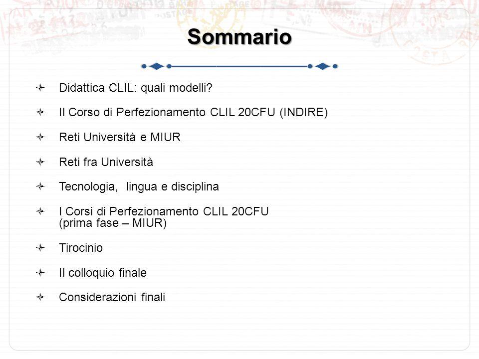 Sommario  Didattica CLIL: quali modelli.