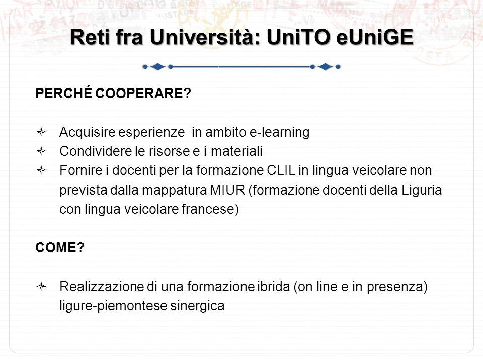 Reti fra Università: UniTO eUniGE PERCHÉ COOPERARE.