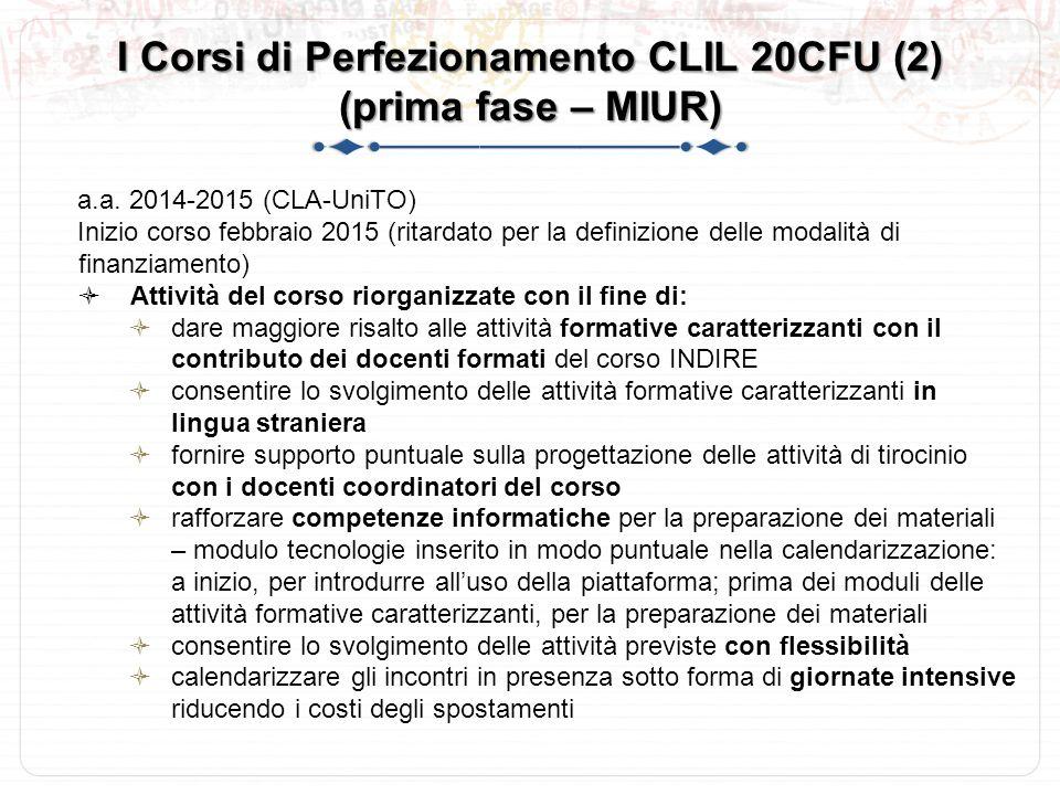 I Corsi di Perfezionamento CLIL 20CFU (2) (prima fase – MIUR) a.a.