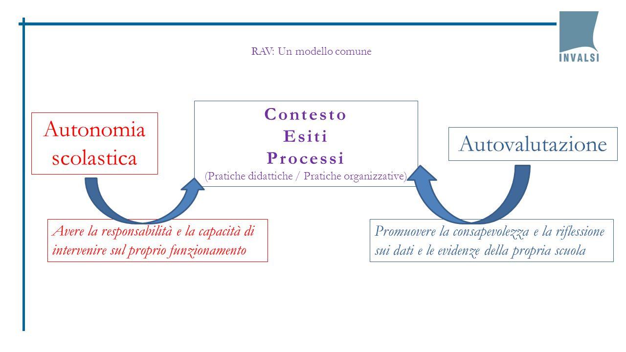 Autonomia scolastica Autovalutazione Contesto Esiti Processi (Pratiche didattiche / Pratiche organizzative) Promuovere la consapevolezza e la riflessi