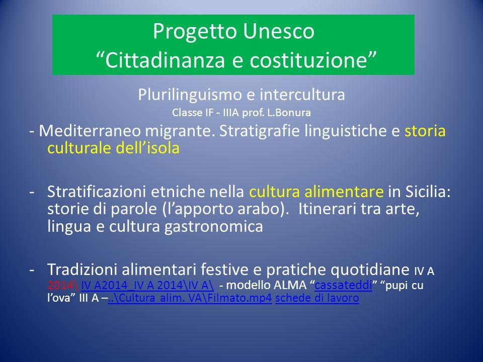 """Progetto Unesco """"Cittadinanza e costituzione"""" Plurilinguismo e intercultura Classe IF - IIIA prof. L.Bonura - Mediterraneo migrante. Stratigrafie ling"""