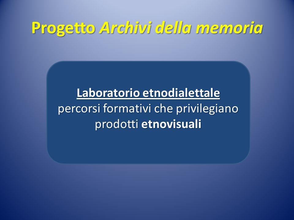 Progetto Archivi della memoria Laboratorio etnodialettale percorsi formativi che privilegiano prodotti etnovisuali