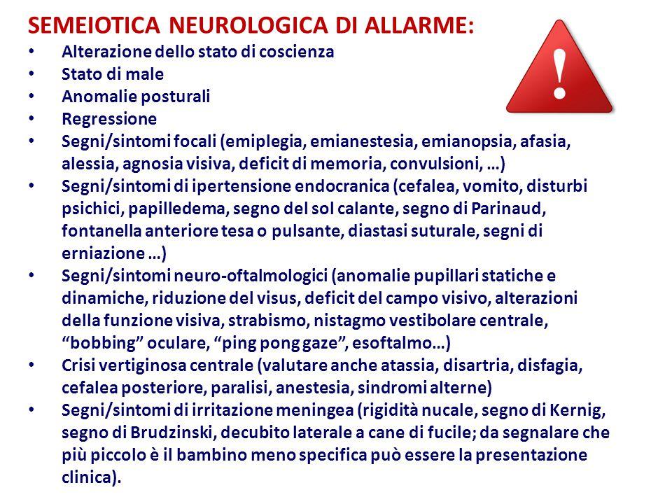 SEMEIOTICA NEUROLOGICA DI ALLARME: Alterazione dello stato di coscienza Stato di male Anomalie posturali Regressione Segni/sintomi focali (emiplegia, emianestesia, emianopsia, afasia, alessia, agnosia visiva, deficit di memoria, convulsioni, …) Segni/sintomi di ipertensione endocranica (cefalea, vomito, disturbi psichici, papilledema, segno del sol calante, segno di Parinaud, fontanella anteriore tesa o pulsante, diastasi suturale, segni di erniazione …) Segni/sintomi neuro-oftalmologici (anomalie pupillari statiche e dinamiche, riduzione del visus, deficit del campo visivo, alterazioni della funzione visiva, strabismo, nistagmo vestibolare centrale, bobbing oculare, ping pong gaze , esoftalmo…) Crisi vertiginosa centrale (valutare anche atassia, disartria, disfagia, cefalea posteriore, paralisi, anestesia, sindromi alterne) Segni/sintomi di irritazione meningea (rigidità nucale, segno di Kernig, segno di Brudzinski, decubito laterale a cane di fucile; da segnalare che più piccolo è il bambino meno specifica può essere la presentazione clinica).