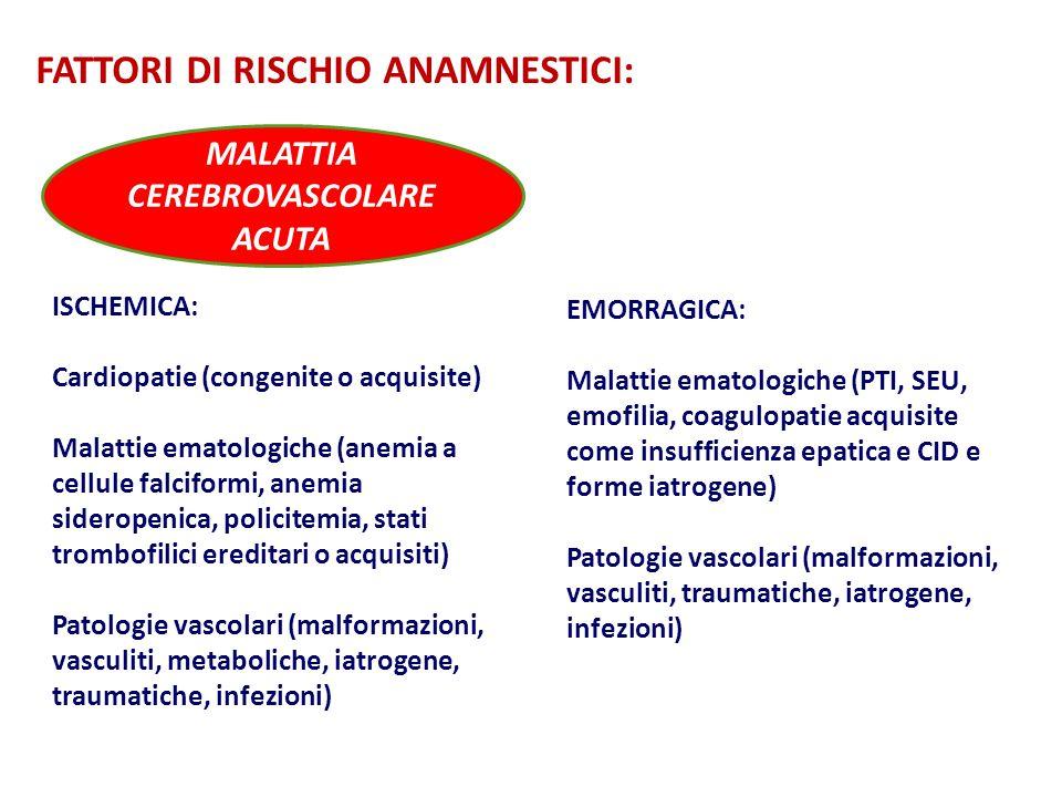 MALATTIA CEREBROVASCOLARE ACUTA ISCHEMICA: Cardiopatie (congenite o acquisite) Malattie ematologiche (anemia a cellule falciformi, anemia sideropenica, policitemia, stati trombofilici ereditari o acquisiti) Patologie vascolari (malformazioni, vasculiti, metaboliche, iatrogene, traumatiche, infezioni) FATTORI DI RISCHIO ANAMNESTICI: EMORRAGICA: Malattie ematologiche (PTI, SEU, emofilia, coagulopatie acquisite come insufficienza epatica e CID e forme iatrogene) Patologie vascolari (malformazioni, vasculiti, traumatiche, iatrogene, infezioni)