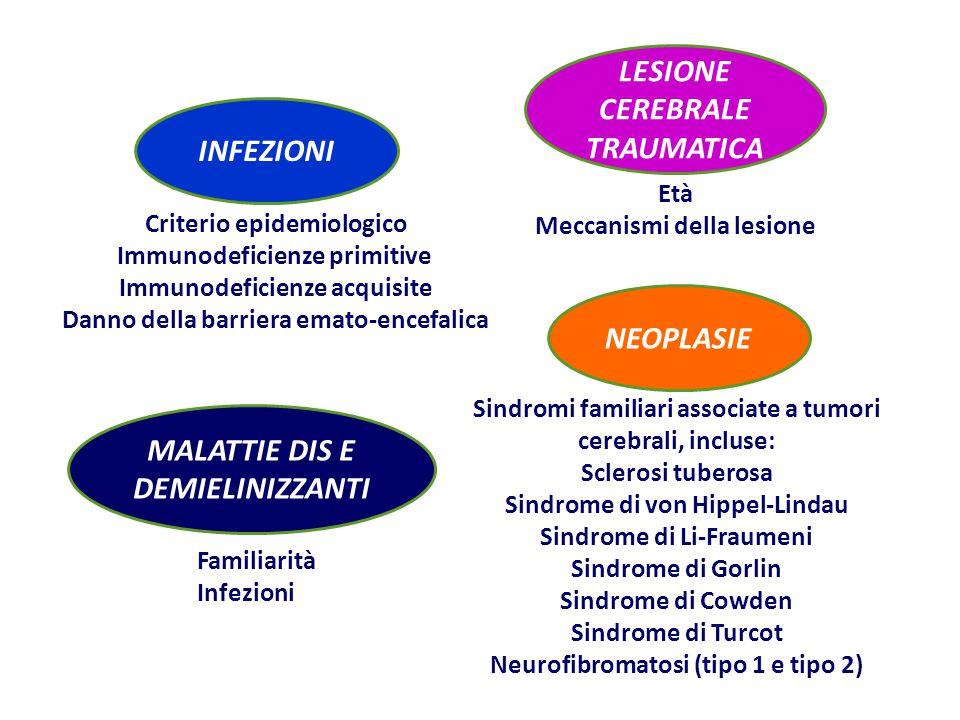 NEOPLASIE Sindromi familiari associate a tumori cerebrali, incluse: Sclerosi tuberosa Sindrome di von Hippel-Lindau Sindrome di Li-Fraumeni Sindrome di Gorlin Sindrome di Cowden Sindrome di Turcot Neurofibromatosi (tipo 1 e tipo 2) INFEZIONI Criterio epidemiologico Immunodeficienze primitive Immunodeficienze acquisite Danno della barriera emato-encefalica MALATTIE DIS E DEMIELINIZZANTI Familiarità Infezioni LESIONE CEREBRALE TRAUMATICA Età Meccanismi della lesione