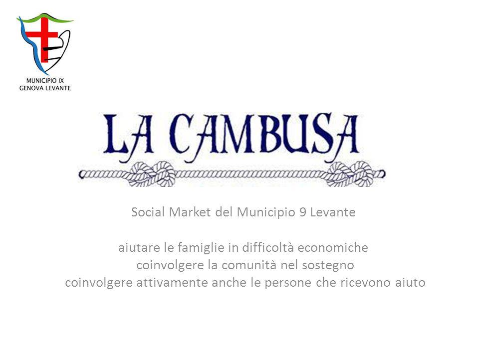 Social Market del Municipio 9 Levante aiutare le famiglie in difficoltà economiche coinvolgere la comunità nel sostegno coinvolgere attivamente anche le persone che ricevono aiuto