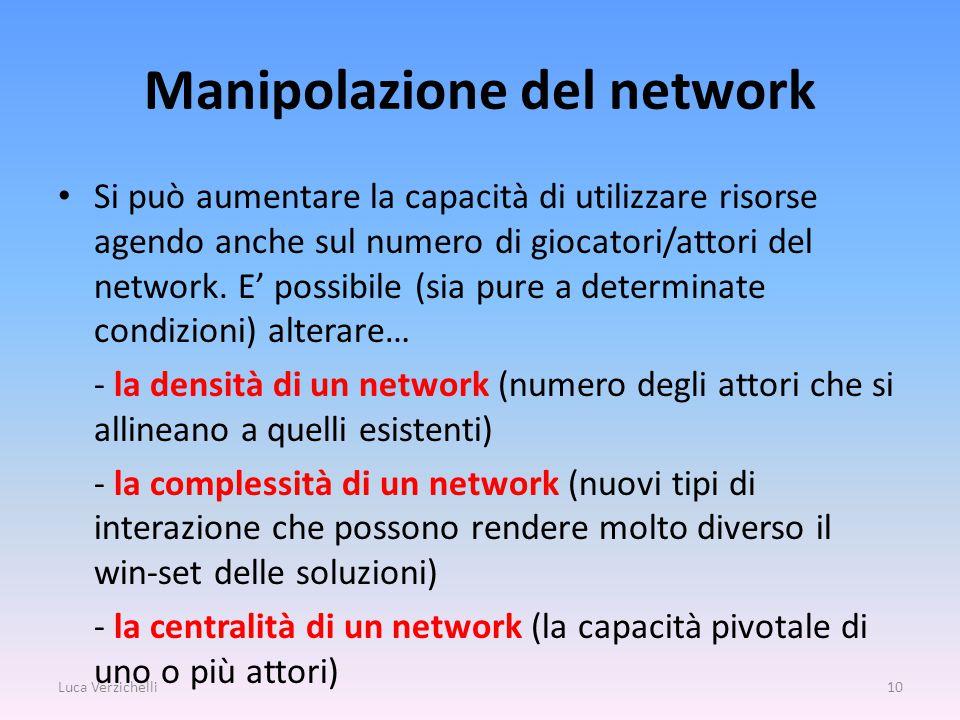 Manipolazione del network Si può aumentare la capacità di utilizzare risorse agendo anche sul numero di giocatori/attori del network.