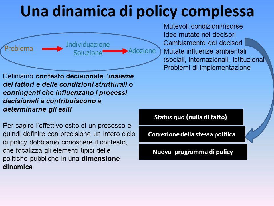 Una dinamica di policy complessa Problema Individuazione Soluzione Status quo (nulla di fatto) Adozione Mutevoli condizioni/risorse Idee mutate nei decisori Cambiamento dei decisori Mutate influenze ambientali (sociali, internazionali, istituzionali) Problemi di implementazione Correzione della stessa politica Nuovo programma di policy Definiamo contesto decisionale l'insieme dei fattori e delle condizioni strutturali o contingenti che influenzano i processi decisionali e contribuiscono a determinarne gli esiti Per capire l'effettivo esito di un processo e quindi definire con precisione un intero ciclo di policy dobbiamo conoscere il contesto, che focalizza gli elementi tipici delle politiche pubbliche in una dimensione dinamica