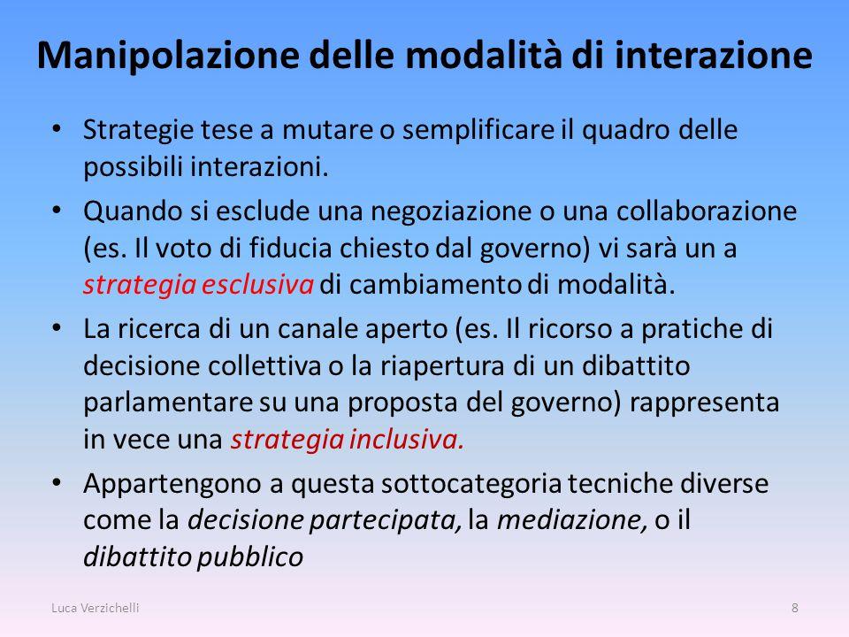 Manipolazione delle modalità di interazione Strategie tese a mutare o semplificare il quadro delle possibili interazioni.