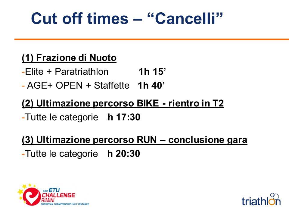 (2) Ultimazione percorso BIKE - rientro in T2 -Tutte le categorie h 17:30 (1) Frazione di Nuoto -Elite + Paratriathlon 1h 15' - AGE+ OPEN + Staffette