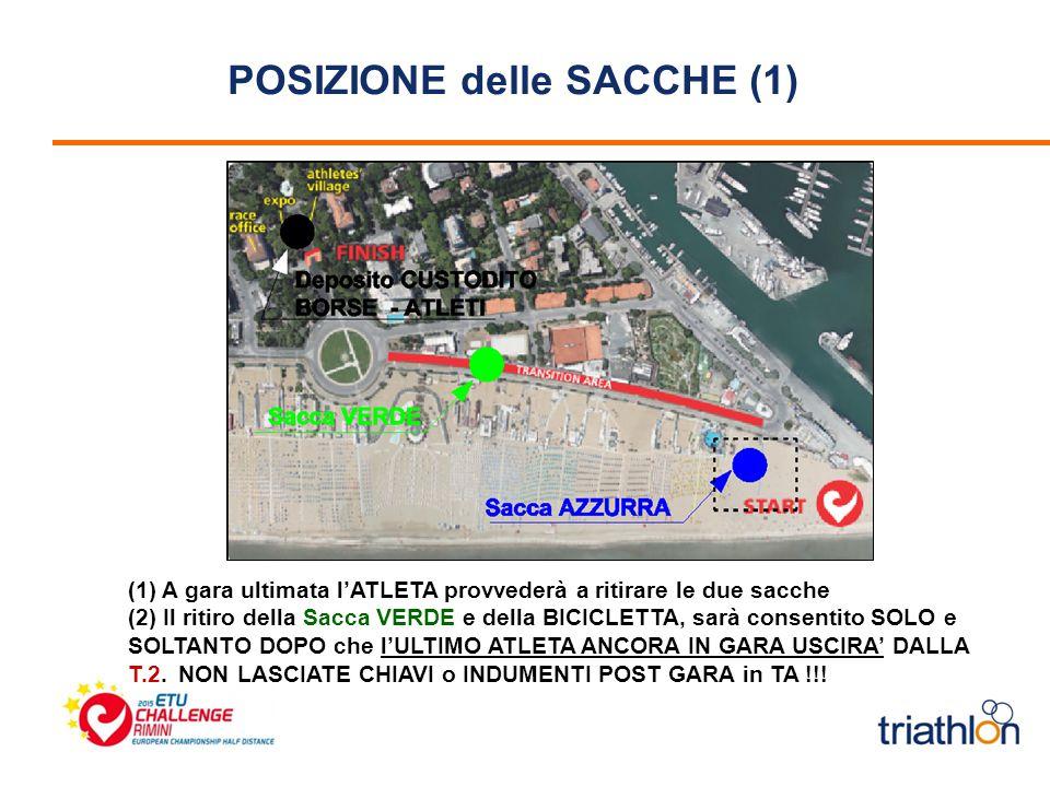 POSIZIONE delle SACCHE (1) (1) A gara ultimata l'ATLETA provvederà a ritirare le due sacche (2) Il ritiro della Sacca VERDE e della BICICLETTA, sarà consentito SOLO e SOLTANTO DOPO che l'ULTIMO ATLETA ANCORA IN GARA USCIRA' DALLA T.2.