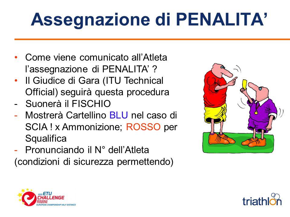 Assegnazione di PENALITA' Come viene comunicato all'Atleta l'assegnazione di PENALITA' .