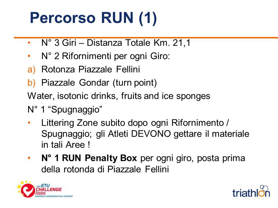 Percorso RUN (1) N° 3 Giri – Distanza Totale Km. 21,1 N° 2 Rifornimenti per ogni Giro: a)Rotonza Piazzale Fellini b)Piazzale Gondar (turn point) Water
