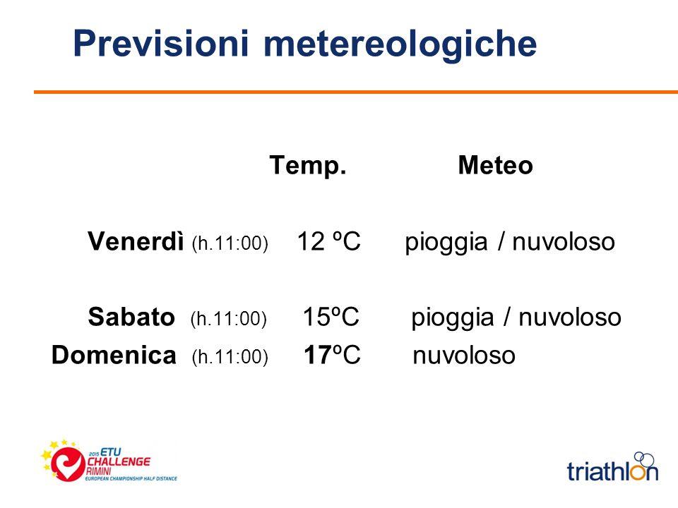 Previsioni metereologiche Temp.Meteo Venerdì (h.11:00) 12 ºC pioggia / nuvoloso Sabato (h.11:00) 15ºC pioggia / nuvoloso Domenica (h.11:00) 17ºC nuvoloso