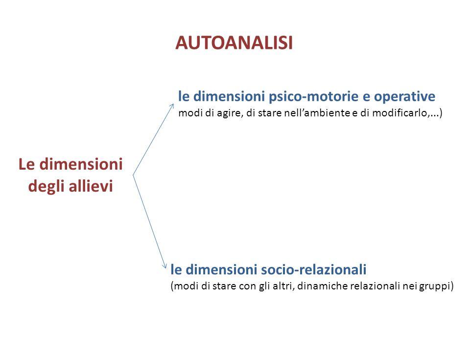 le dimensioni psico-motorie e operative modi di agire, di stare nell'ambiente e di modificarlo,...) AUTOANALISI Le dimensioni degli allievi le dimensi