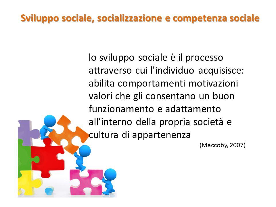 lo sviluppo sociale è il processo attraverso cui l'individuo acquisisce: abilita comportamenti motivazioni valori che gli consentano un buon funzionam