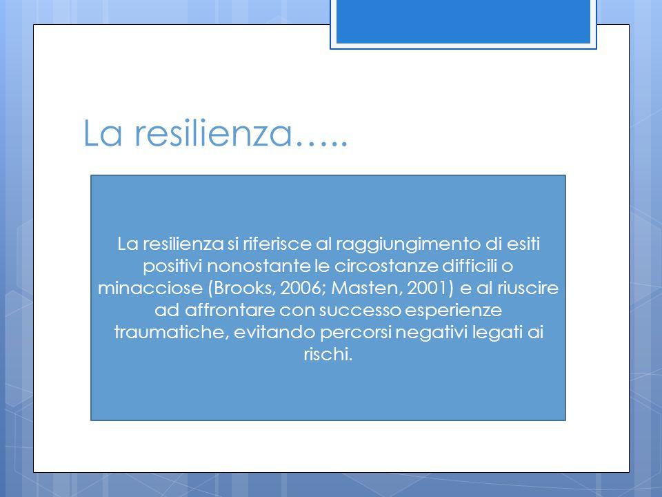 La resilienza….. La resilienza si riferisce al raggiungimento di esiti positivi nonostante le circostanze difficili o minacciose (Brooks, 2006; Masten