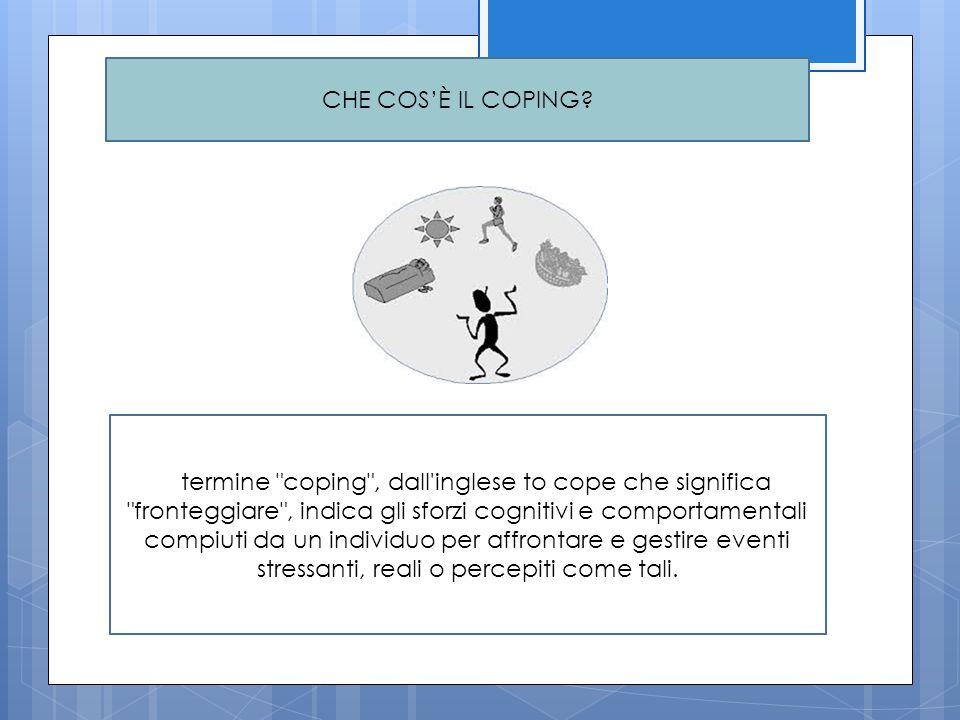 Le strategie di coping L acquisizione delle strategie di coping dipende da molti fattori: risorse personali del bambino, quelle dell ambiente, l età, il temperamento, il contesto stressante (Compas, 1987).