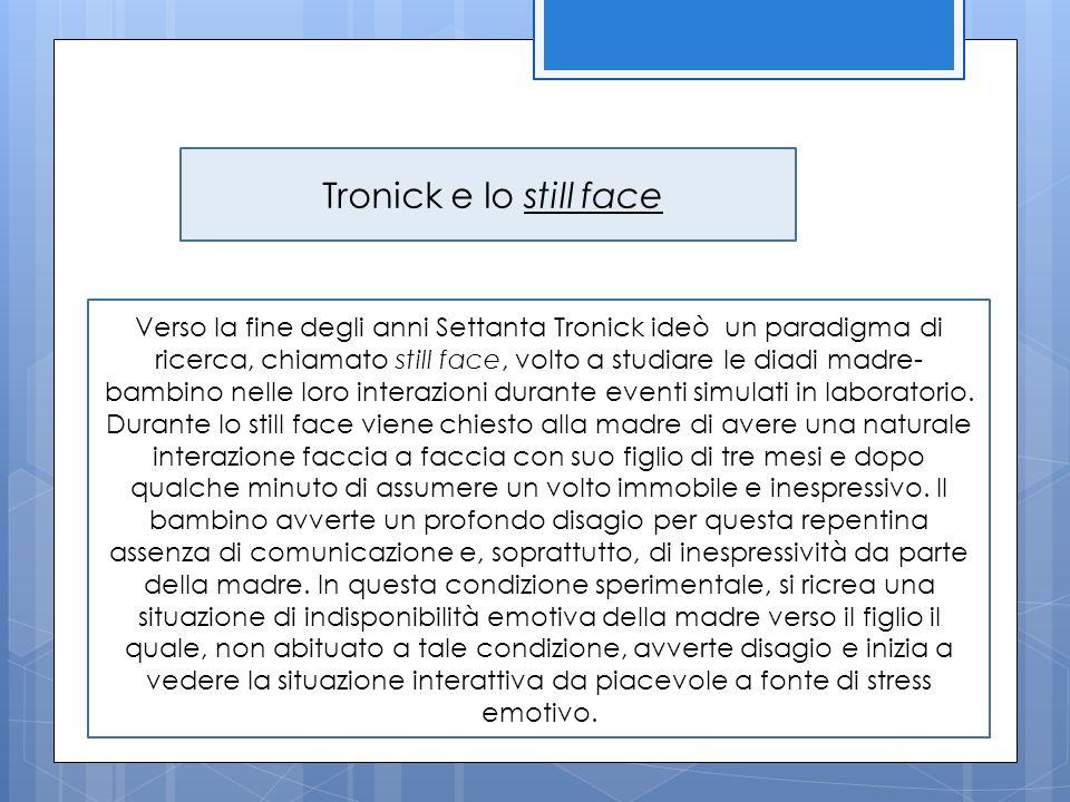 Tronick e lo still face Verso la fine degli anni Settanta Tronick ideò un paradigma di ricerca, chiamato still face, volto a studiare le diadi madre-