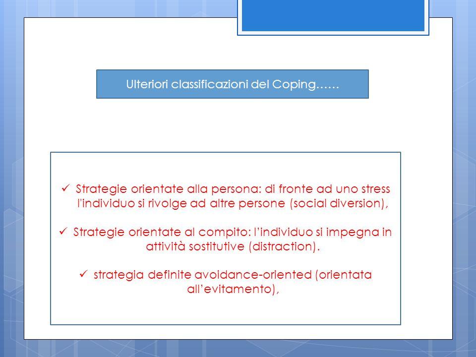 Strategie orientate alla persona: di fronte ad uno stress l'individuo si rivolge ad altre persone (social diversion), Strategie orientate al compito: