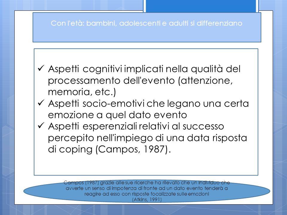 Con l'età: bambini, adolescenti e adulti si differenziano Aspetti cognitivi implicati nella qualità del processamento dell'evento (attenzione, memoria